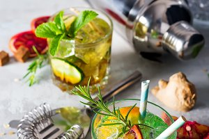 Caipirinha, Mojito cocktail, vodka or soda drink with lime, mint and straw