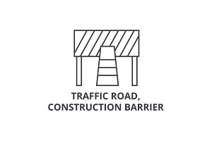 traffic road, construction barrier vector line icon, sign, illustration on background, editable strokes