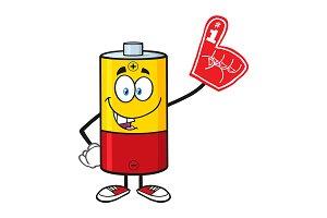 Funny Battery Cartoon Character
