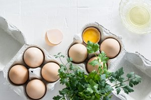 Egg cartons on concrete tabletop I