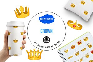 Crown icons set, cartoon style