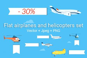 Flat airplanes and helicopters set