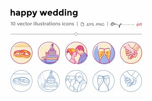 Happy wedding icons