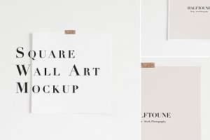 Square Wall Art Mockup, 1x1 Mockup