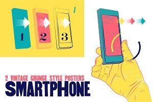 Smartphone vintage grunge poster.
