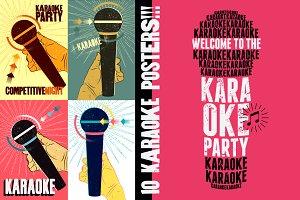 Karaoke typographic vintage poster.