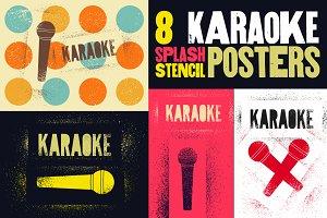 Karaoke stencil spray grunge poster.