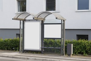 Blank bus stop mock up
