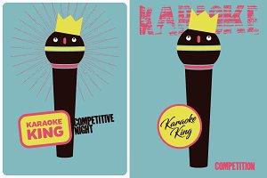 Karaoke King typographic vintage pos