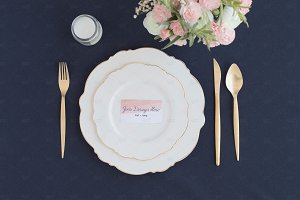 Navy Wedding Place Settings Mockup