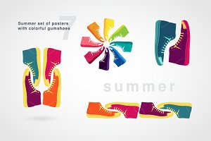 Summer poster with colorful gumshoes