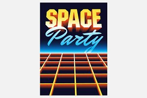 Space Disco Party vintage poster.