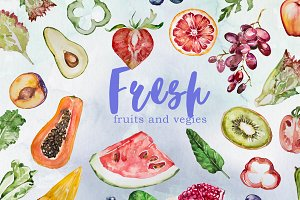 Watercolor Fresh Fruits and Vegies