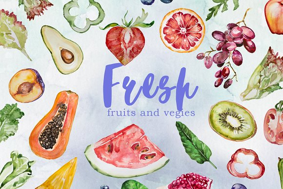 watercolor fresh fruits and vegies illustrations creative market