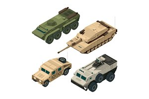 Vector isometric pictures set of different military vehicles isolate on white