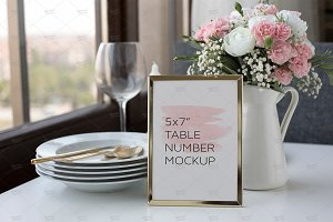 Wedding Table Number Mockup 5x7""
