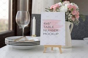 Wedding Table Number Mockup PSD