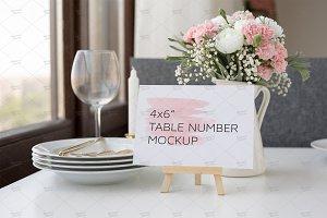 "Table Number Mockup, 4x6"", PSD + Jpg"