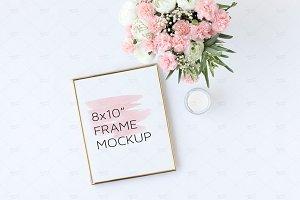 """Gold Frame Mockup, 8x10"""" PSD+Png+Jpg"""