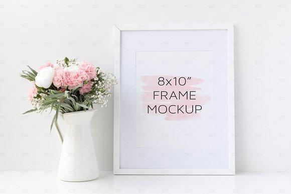 Download White Frame Mockup, Floral, 8x10