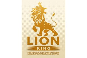 Poster with monochrome illustration of lion king. Design template with place for your text