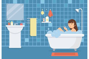 Woman in bathroom. Vector funny characters