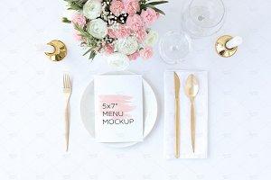 5x7 Wedding Menu Mockup