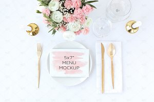 Wedding Menu Mockup, PSD + Jpeg
