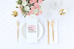 "4x9"" Wedding Menu Mockup"