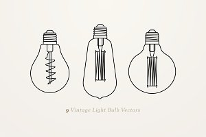9 Vintage Light Bulb Vectors