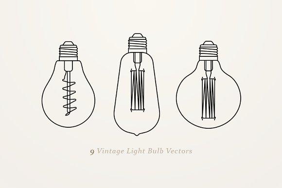 9 Vintage Light Bulb Vectors Objects Creative Market