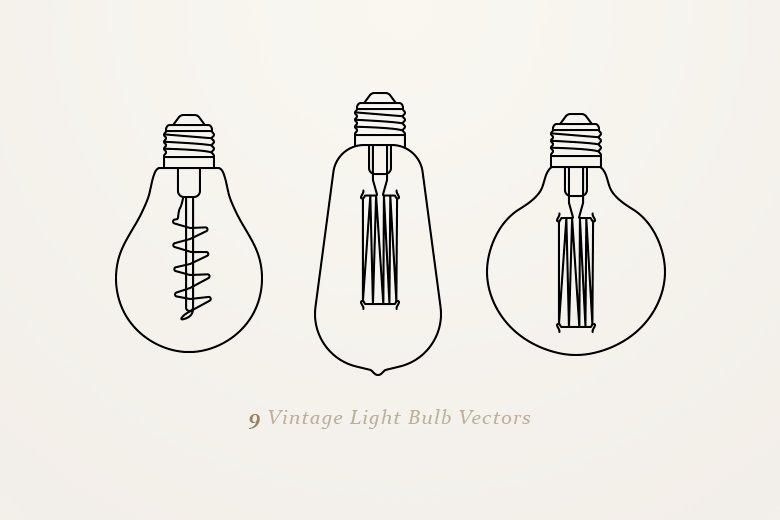 9 Vintage Light Bulb Vectors ~ Graphic Objects ~ Creative