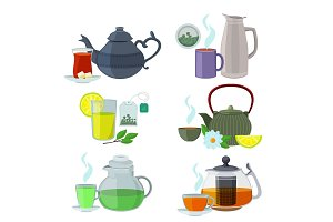 Chinesse, english and other different types of tea. Vector set isolate on white