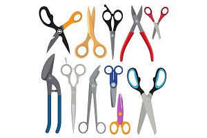 Vector illustrations of different types of scissors