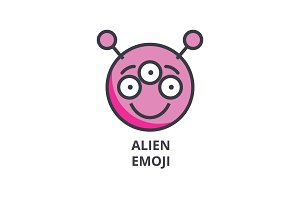 alien emoji vector line icon, sign, illustration on background, editable strokes