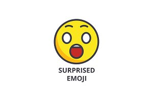 amusing emoji vector line icon, sign, illustration on background, editable strokes