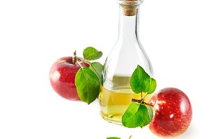 Red apples and apple cider vinegar