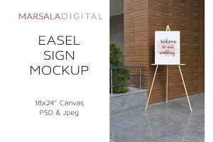 Easel Sign Mockup, 18x24 Canvas