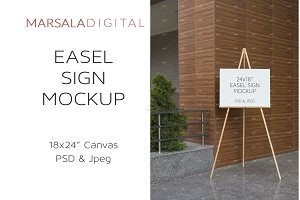 Canvas Sign Mockup, Easel Stand