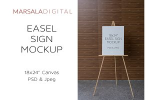 Canvas Mockup, Wooden Easel Stand