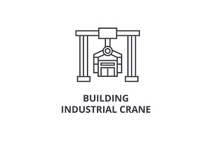 building industrial crane vector line icon, sign, illustration on background, editable strokes