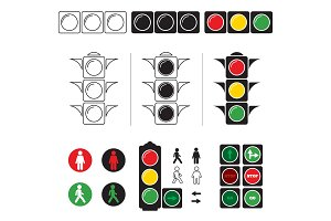 Set stylized illustrations of traffic light with symbols