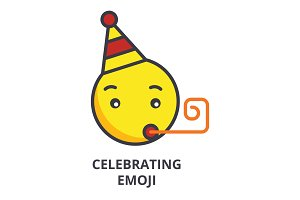 celebrating emoji vector line icon, sign, illustration on background, editable strokes