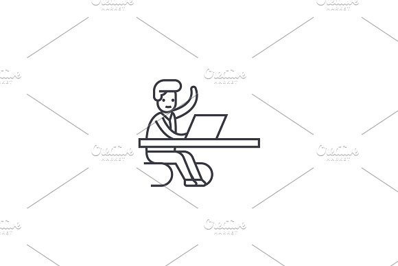 coming in a moment in office vector line icon, sign, illustration on background, editable strokes