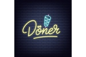Doner. Doner neon sign. Neon glowing signboard banner design