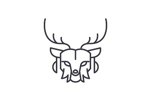 deer head vector line icon, sign, illustration on background, editable strokes