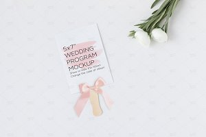 Wedding Program Fan Mockup PSD