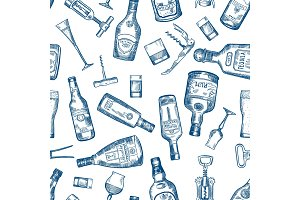 Hand drawn seamless pattern with various alcohol bottles