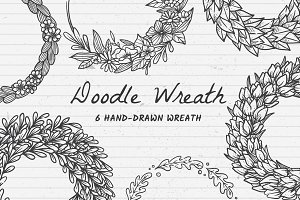 6 Hand Drawn Wreath