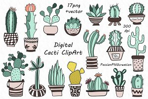 Coloured Cacti Clipart
